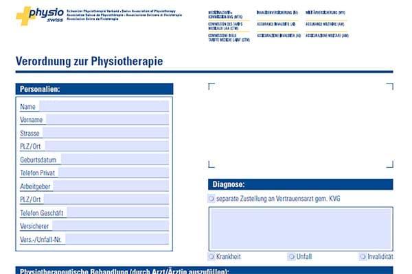 Aerztliche Verordnung Physiotherapie Binningen