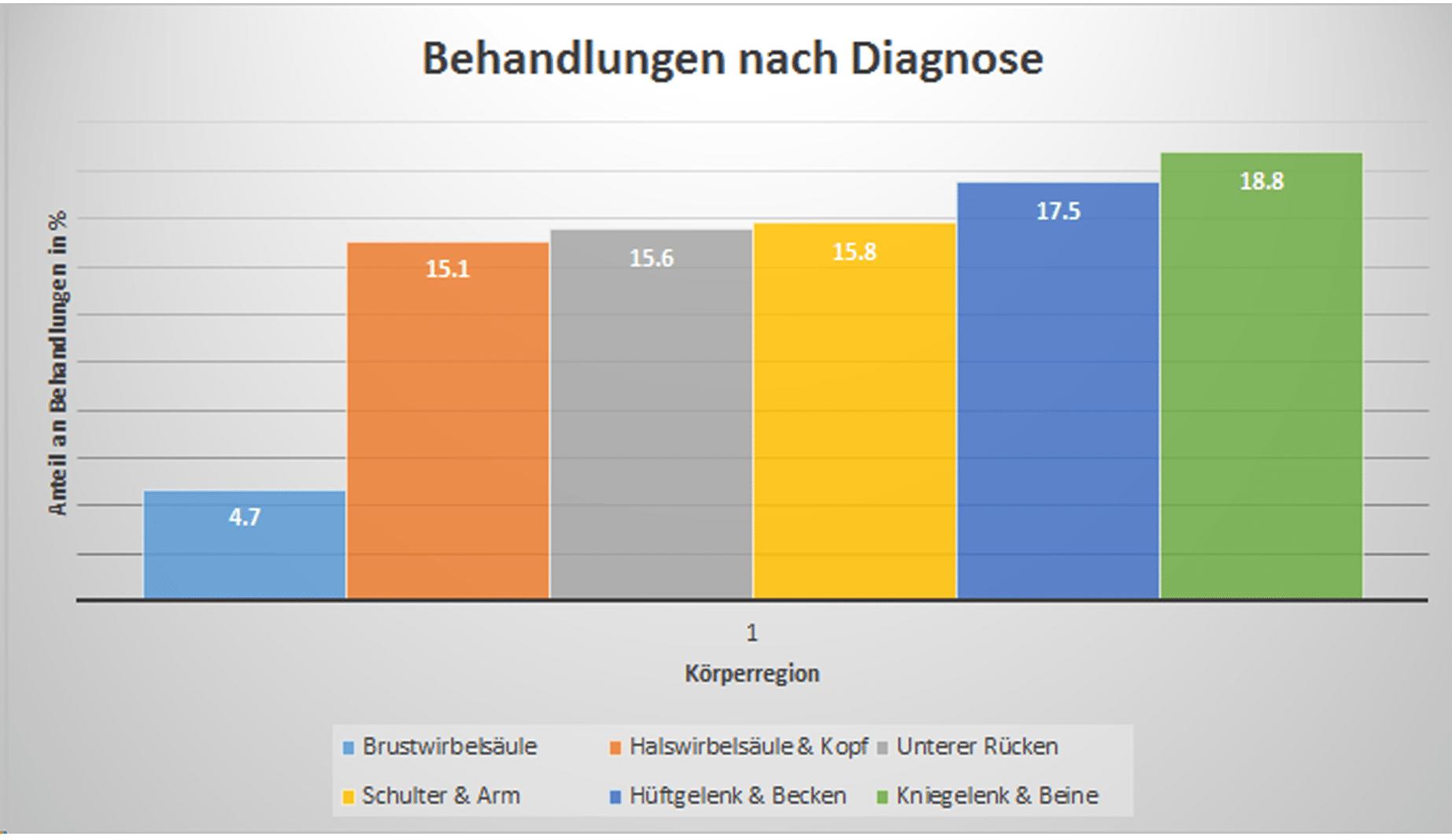 Statistik Physiotherapie nach Diagnosen